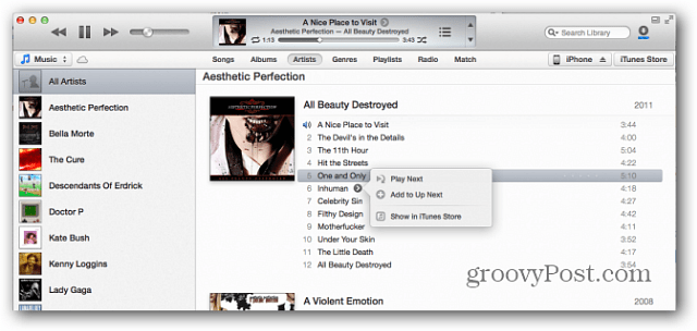 Apple iTunes 11 Play Next Feature