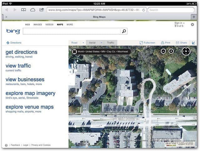 Bing Maps iPad