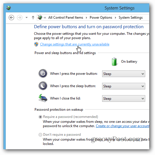 Change Settings not Available