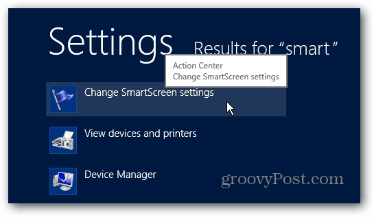 Change Smartscreen Settings