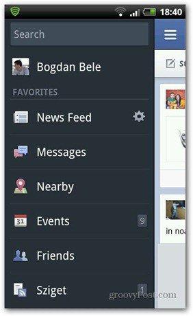 Facebook photo sync click name menu