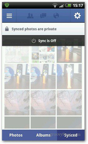 Facebook photo sync is off