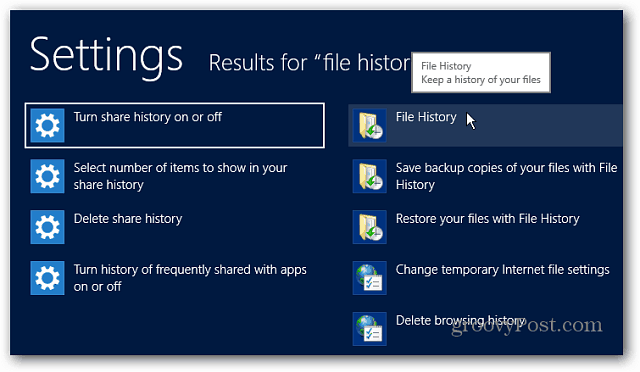 File History Settings Search Windows 8