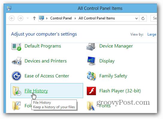 File History control panel
