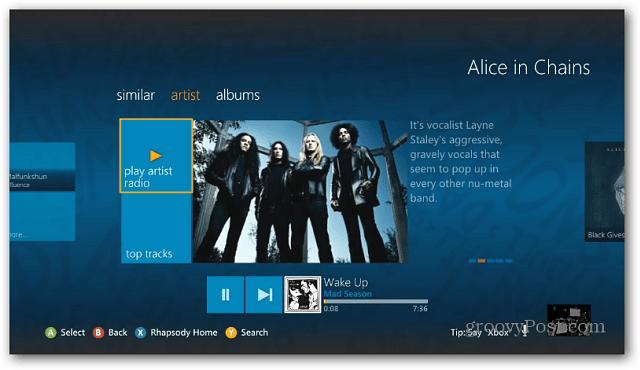 Find Artists Rhapsody Xbox