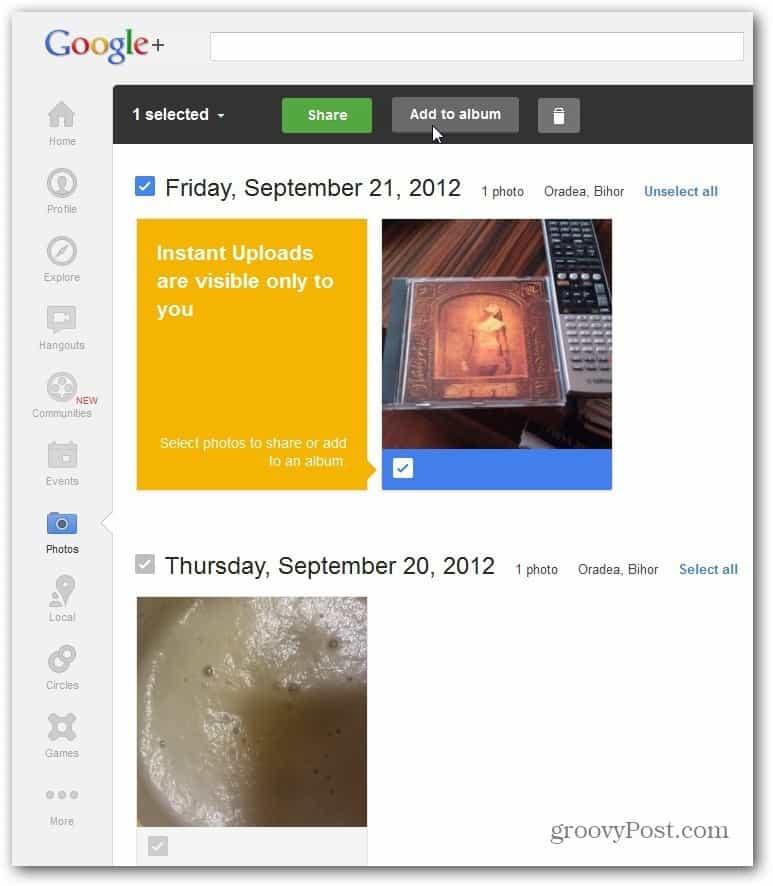 Google plus Instant Upload folder share add to album