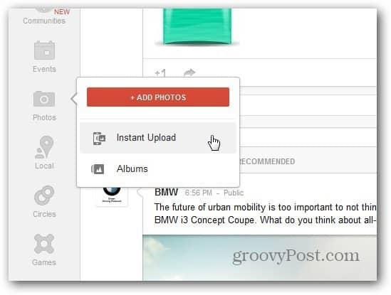 Google plus Instant Upload folder