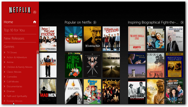 Netflix Windows 8 App