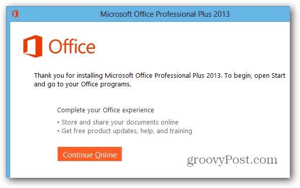 Office 2013 Installed