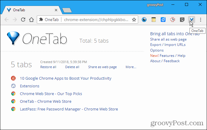 OneTab for Chrome