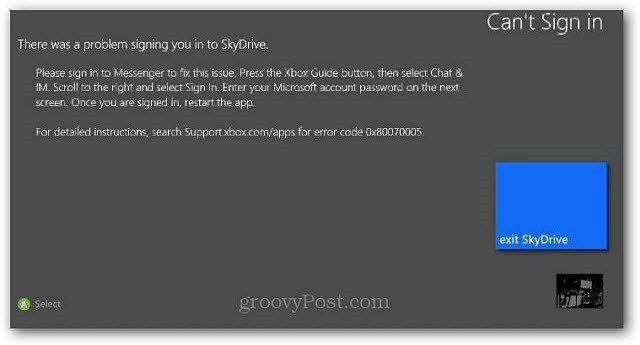 SKyDrive Sign in Error