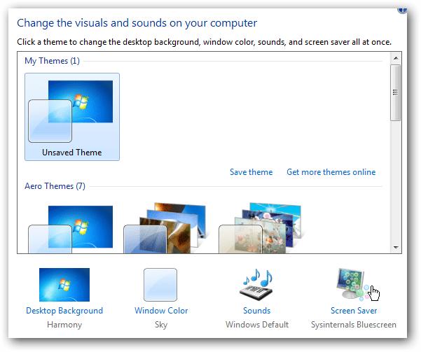 vbscript set screensaver windows 7