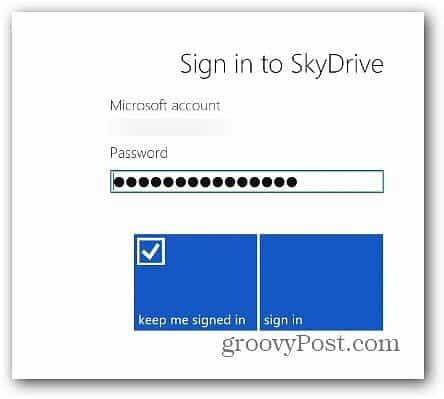 Sign Into SkyDrive