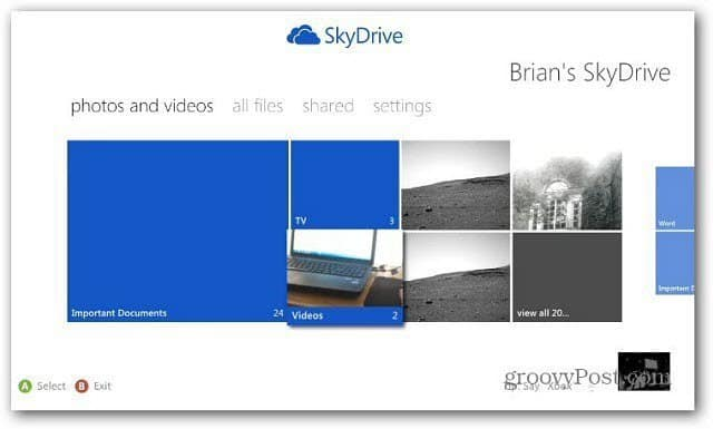 SkyDrive on Xbox 360