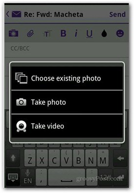 Yahoo Mail Android add photo video