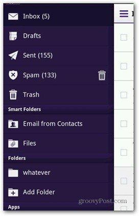 Yahoo Mail Android menu