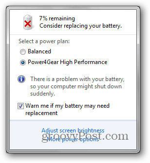consider replacing your battery windows 7
