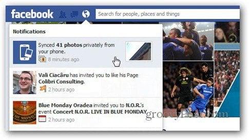 facebook photo sync notification