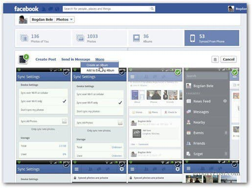 facebook photo sync synced from phone