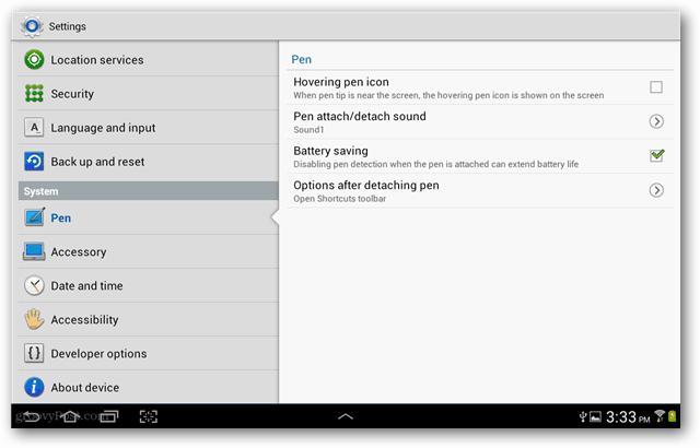system s pen settings