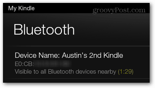 visible to all bluetooth devices near the kindle fire