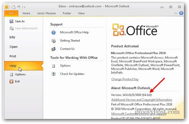 How to find out if you're running 32bit or 64bit version of office outlook 2010