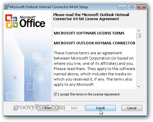 Outlook.com Outlook Hotmail Connector - Click Install