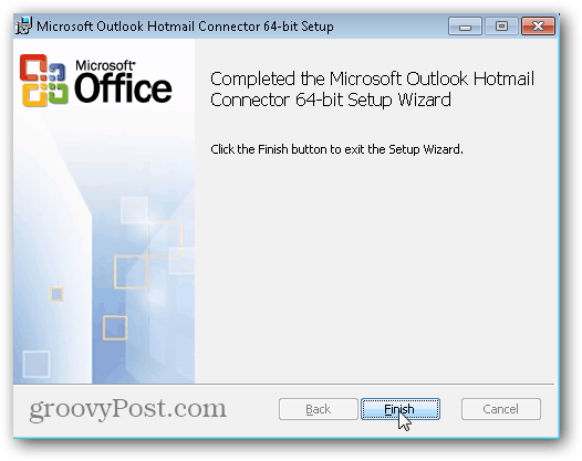 Outlook.com Outlook Hotmail Connector - Click Finish