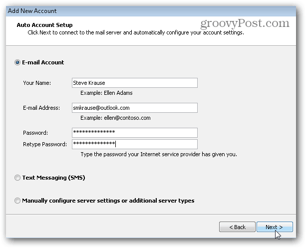 Outlook.com Outlook Hotmail Connector - Add Email Account and Password