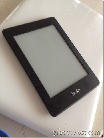 Kindle Paperwhite turned off (with cookie crumbs)