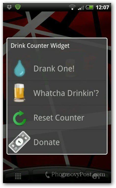 Drink counter widget had one