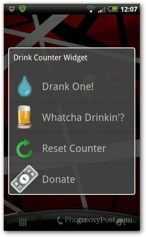 Drink counter widget had one