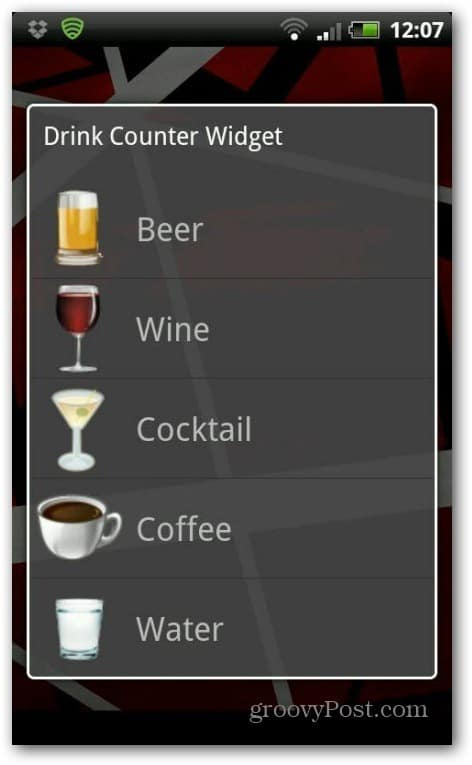 Drink counter widget whatcha drinkin