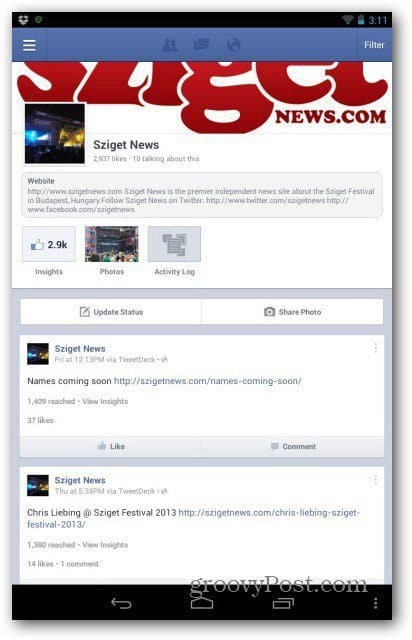 Facebook Pages for Android main interface