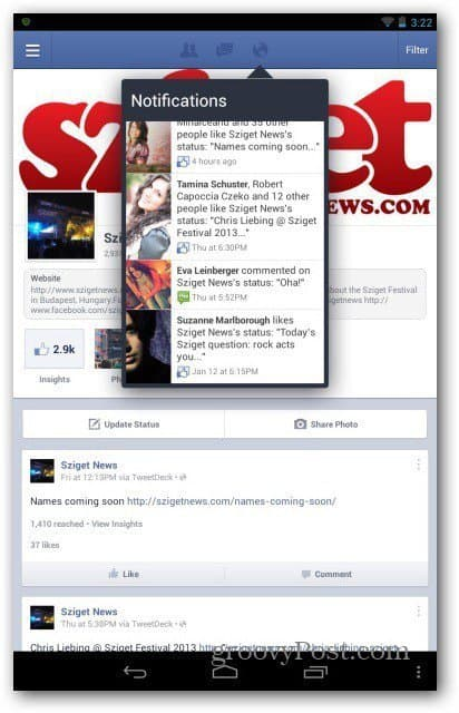 Facebook pages for Android manage page