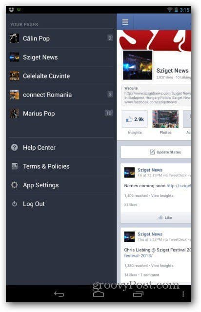 Facebook pages for Android select page