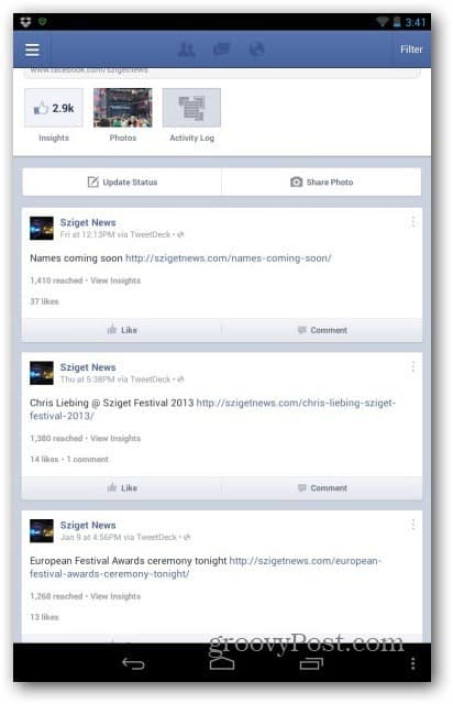 Facebook pages manager Insights button