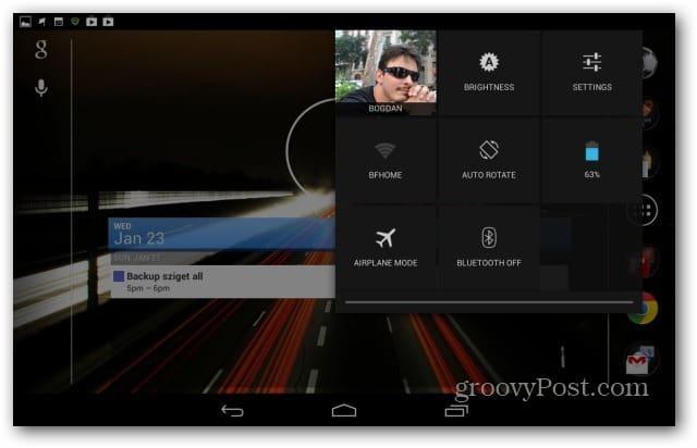 Google Nexus 7 pull down menu