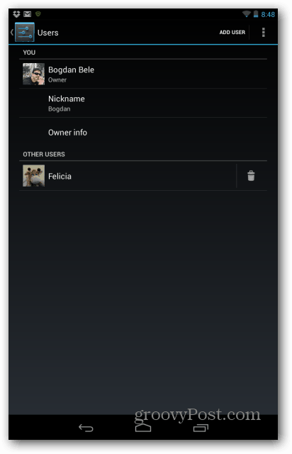 Google Nexus 7 user delete