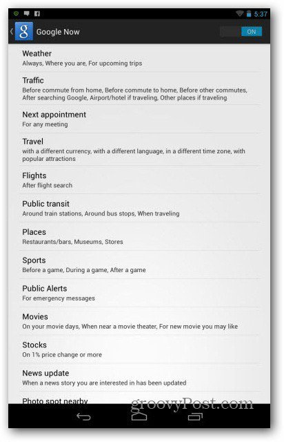 Google Now card settings