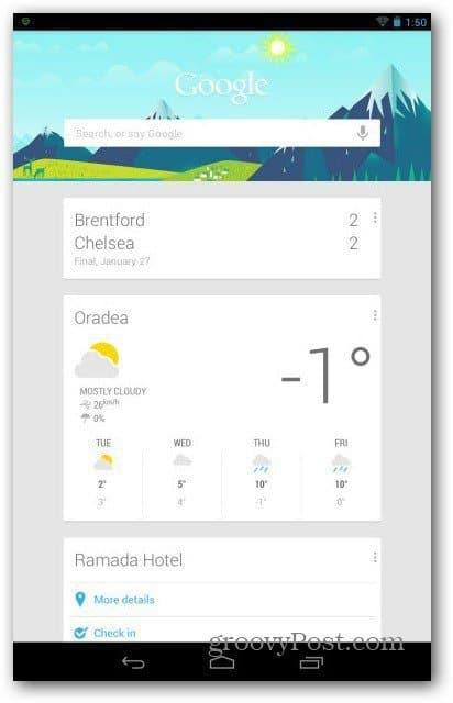 Google Now main page
