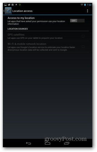 Improve Nexus 7 battery life location settings off