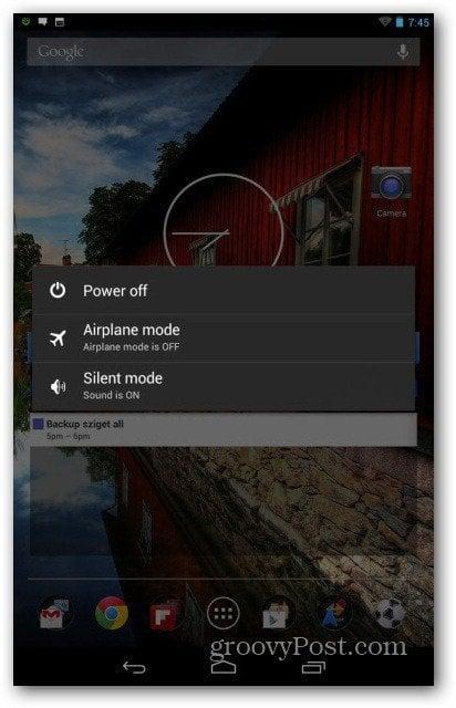 Nexus 7 airplane mode menu