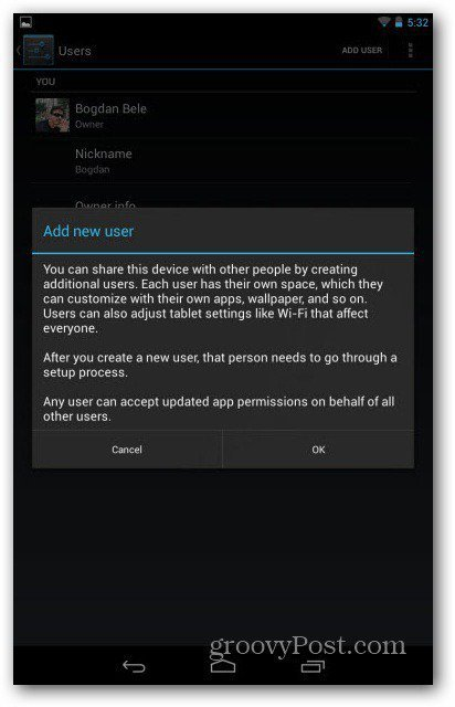 Nexus 7 user accounts warning