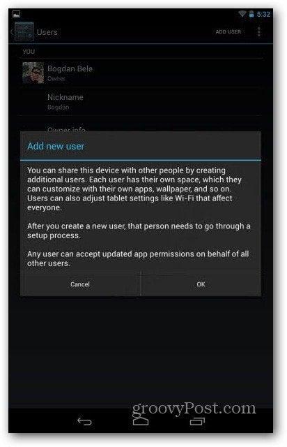 Nexus 7 user accounts warning