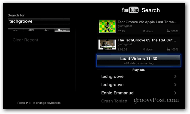 Search YouTube Apple TV