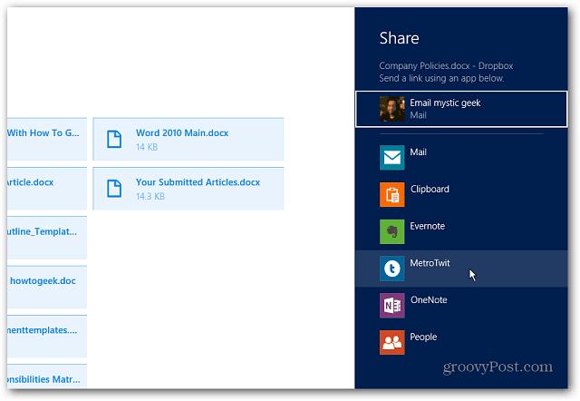 Share in Dropbox App