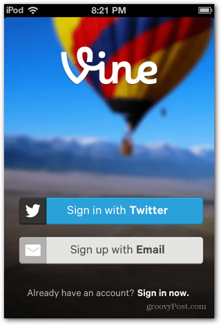 Sign in to Vine