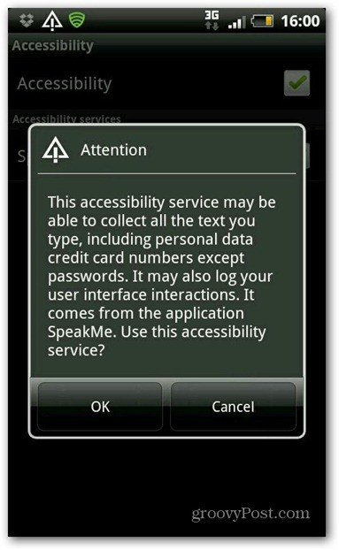 SpeakMe for Android accesibility enable