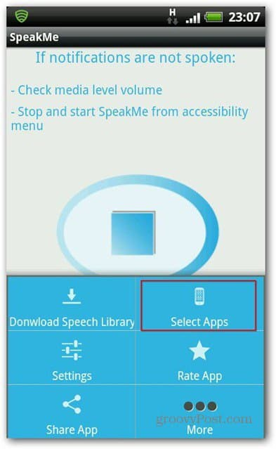 SpeakMe for Android select apps
